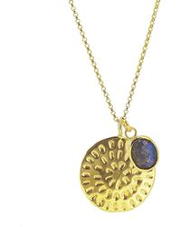 Yvonne Henderson Jewellery Moroccan Inspired Large Organic Disc Pendant With Labradorite Charm Gold - Metallic