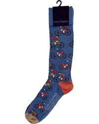 lords of harlech Donald Cyclists Blue Extrafine Merino Wool Socks