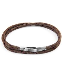 Anchor & Crew Brown Liverpool Silver And Rope Bracelet