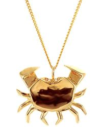 Origami Jewellery Sterling Silver Gold Plated Crab Necklace - Metallic