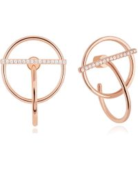 Astrid & Miyu - Saturn Earrings In Rose Gold - Lyst