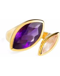 Neola - Celestine Gold Ring Amethyst And Rose Quartz - Lyst