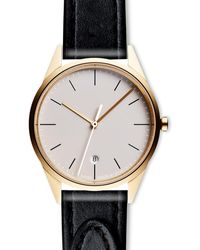 Uniform Wares Women's C36 Date Watch In Pvd Gold With Tapered Black Nappa Leather Strap - Metallic