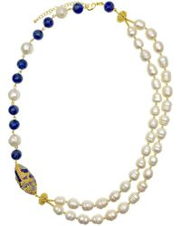Farra Freshwater Pearls With Lapis Lazuli & Rhinestone Double Strands Necklace - Blue