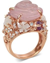 Bellus Domina Gold Plated Quartz Cocktail Ring - Pink