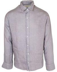 Haris Cotton Slim Fit Mandarin Neck Linen Shirt - Grey