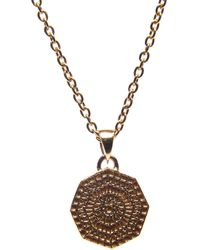 Puck Wanderlust Mini Sun Mandala Pendant Necklace Gold - Metallic