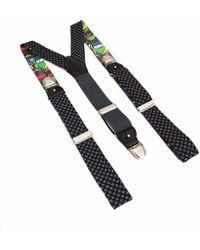 40 Colori Polka Dot Wool & Silk Braces - Black