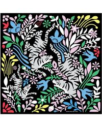 Jessie Zhao New York Silk Scarf Of Cheerful Moments In Black