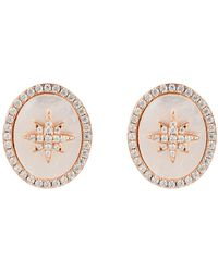 LÁTELITA London Starburst Oval Stud Earring White Mother Of Pearl Rosegold