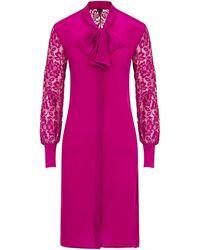 Sophie Cameron Davies Berry Pink Silk Midi Bow Dress