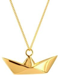 Origami Jewellery Sterling Silver Gold Plated Boat Necklace - Metallic