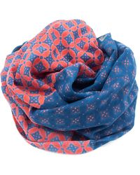 Doria & Dojola Quattrefoil Cotton Foulard - Blue