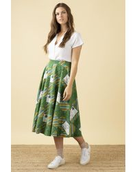 Emily and Fin Sandy Postcards Print Skirt - Green