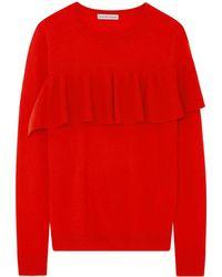 ILLE DE COCOS - Merino Ruffle Sweater Tomato Red & Gold - Lyst