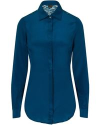 Sophie Cameron Davies - Teal Fitted Silk Shirt - Lyst