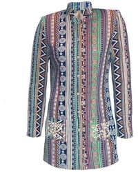 relax baby be cool Womens Long Jacket With Pearl Embroidery Green