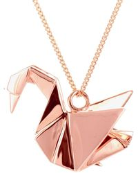Origami Jewellery Swan Necklace Sterling Silver Pink Gold Plated - Metallic