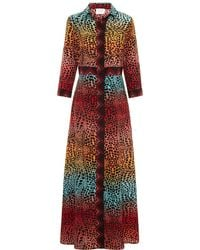 Hayley Menzies Ombré Crocodile Shirt Dress - Red