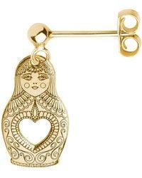 CarterGore Gold Russian Doll Single Short Drop Earring - Metallic