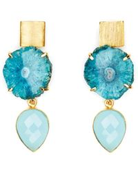Magpie Rose Double Blue Cocktail Earrings