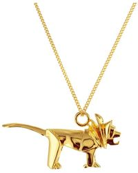 Origami Jewellery Sterling Silver & Gold Mini Lion Origami Necklace - Metallic