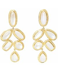 Ri Noor - Cascading Moonstone & Diamond Drop Earrings - Lyst