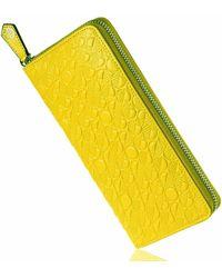 Drew Lennox Luxury English Leather Ladies 12 Card Zip Around Purse & Wallet In Lemon & Lime - Yellow
