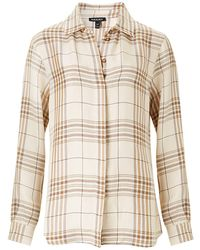 Baukjen Aubrey Shirt In Sand Check - Brown