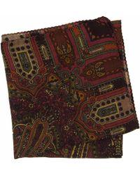 40 Colori Burgundy Vintage Paisley Printed Wool Bandana - Multicolour
