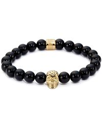 Northskull Black Onyx & Perforated Gold Skull Charm Bracelet - Metallic