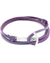 Anchor & Crew Grape Purple Clipper Anchor Silver & Flat Leather Bracelet - Metallic