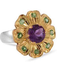 Emma Chapman Jewels Belladona Amethyst Tsavorite Ring - Multicolor