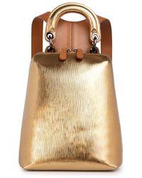 Thale Blanc Racer Metallic Mini: Designer Backpack In Gold Leather
