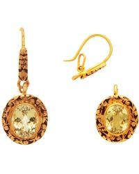 Kastur Jewels 15th Century Inspired 3 In 1 Topaz Earrings/pendant - Metallic