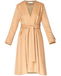 Paisie A-line Collarless Coat With Cuff Details (with Self Belt) In Sand - Brown