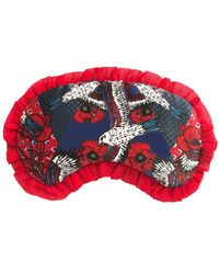"""Jessica Russell Flint """"eagle Fields"""" Silk Eye Mask With Frill Trim - Red"""