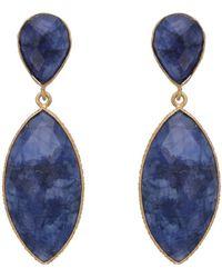 Carousel Jewels - Dyed Sapphire Double Drop Long Earrings - Lyst