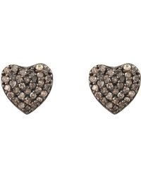 LÁTELITA London - Diamond Heart Stud Earrings Rosegold - Lyst