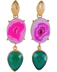 Magpie Rose - Pink Agate & Green Onyx Cocktail Earrings - Lyst