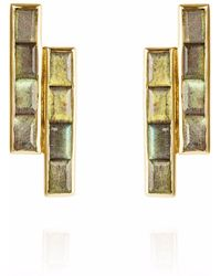 Neola - Equilibrium Gold Earrings With Labradorite - Lyst