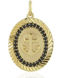Artisan 14kt Yellow Gold Anchor Charm Pendant Black Diamond Handmade Jewellery - Metallic
