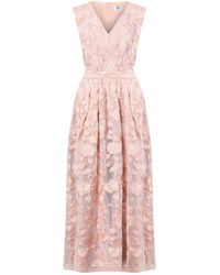 True Decadence Nude Rose Embroidery Tulle Floor Length Gown - Pink