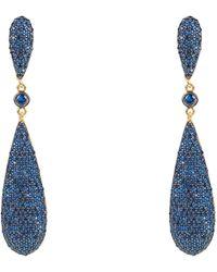 LÁTELITA London Coco Long Drop Earrings Sapphire Blue Cz