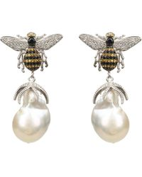 LÁTELITA London - Honey Bee Baroque Pearl Drop Earring Silver - Lyst