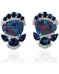 Artisan Opal Doublet Stud Earrings 18kt White Gold Diamond Blue Sapphire Gemstone Jewellery