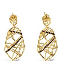 Bellus Domina Gold Plated Crossover Quartz Earrings - Metallic