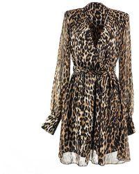 LEFON New York Leopard Print Short Dress - Brown
