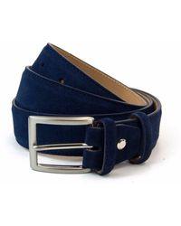 40 Colori Navy Trento Leather Belt - Blue
