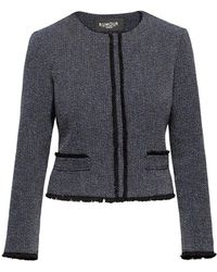 Rumour London Eleanor Navy And Cream Tweed Jacket With Fringing Detail - Blue